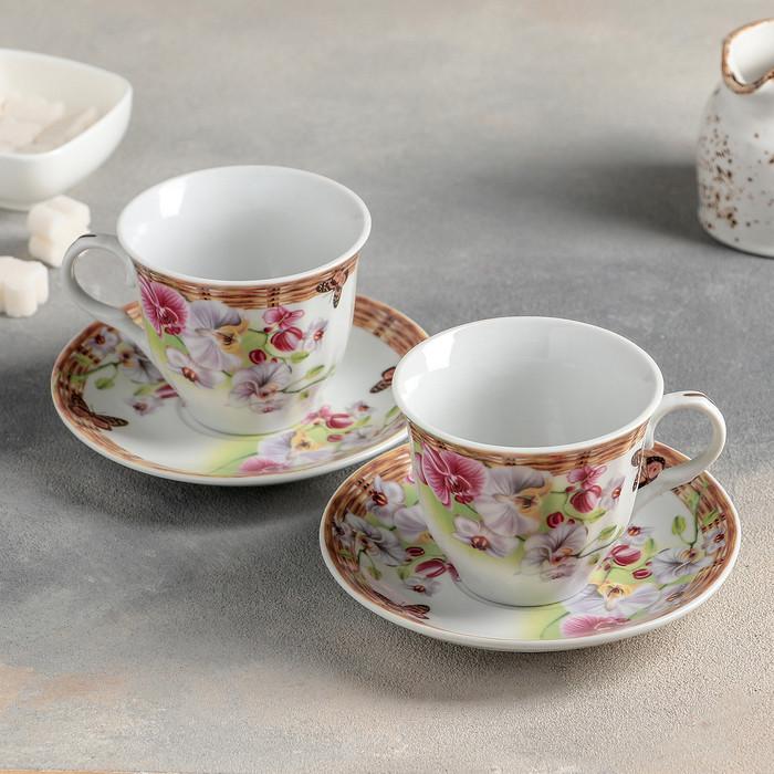 """Сервиз чайный """"Садовый дворик"""", 4 предмета: 2 чашки 250 мл, 2 блюдца"""
