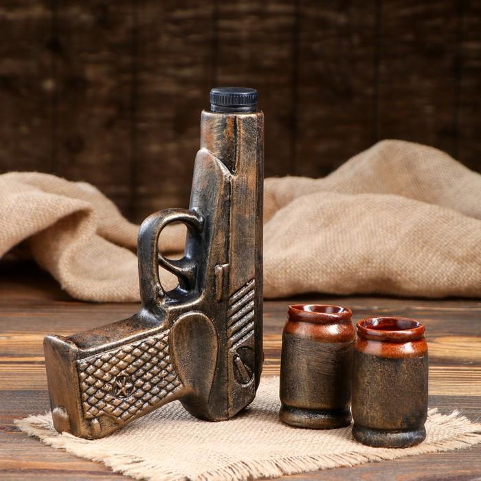"""Набор для вина """"Пистолет"""", бронза, 3 предмета, 0,14 л"""
