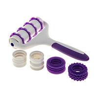 Валик для нарезки и тиснения теста «Лепота»: валик, 4 насадки d=3/4 см, 9 разделителей, 12 колес-резаков, 2 стопера