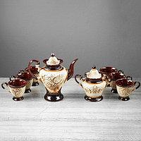 """Чайный сервиз """"Ева"""" под шамот, 8 предметов: сахарница, чайник 0,9 л, 6 кружек 0,2 л"""