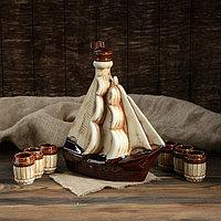 """Набор для вина """"Парусник"""", под шамот, 7 предметов, 1.9/0.1 л, фото 1"""