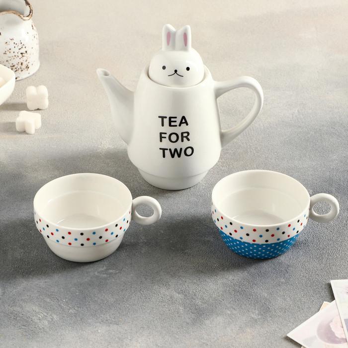 """Сервиз чайный """"Для двоих"""", 3 предмета: 2 чашки 150 мл, чайник 500 мл, цвета МИКС"""