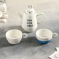 """Сервиз чайный """"Для двоих"""", 3 предмета: 2 чашки 150 мл, чайник 500 мл, цвета МИКС, фото 1"""