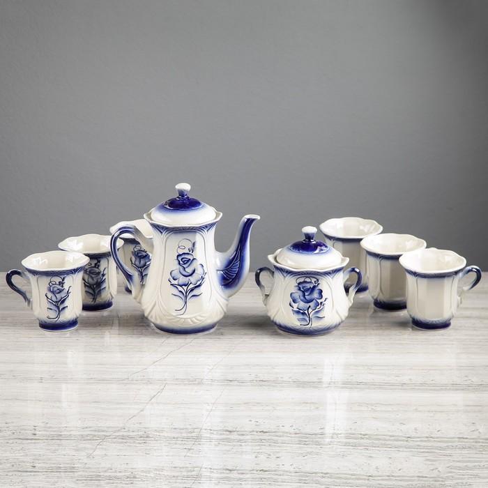 """Чайный сервиз """"Ажур"""", 8 предметов: сахарница 0,55 л, чайник 1 л, 6 кружек 0,25 л"""