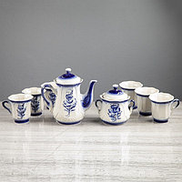 "Чайный сервиз ""Ажур"", 8 предметов: сахарница 0,55 л, чайник 1 л, 6 кружек 0,25 л, фото 1"
