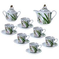 Сервиз чайный «Стрекоза», 14 предметов: чайник 1 л, сахарница 400 мл, 6 чашек 220 мл, 6 блюдец 14 см