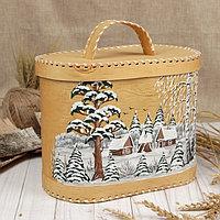 Хлебница «Зима», с росписью, 24×16×20 см, микс, береста