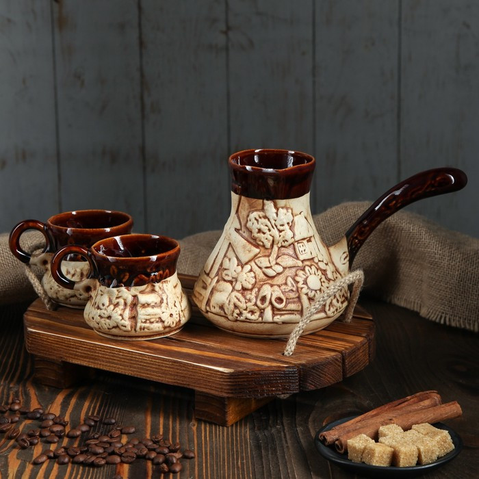 Набор кофейный с туркой, лепка, 3 предмета, 0,65 л, 0,2 л