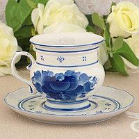 """Чайная пара """"Голубка"""", гжель, фарфор, 2с"""