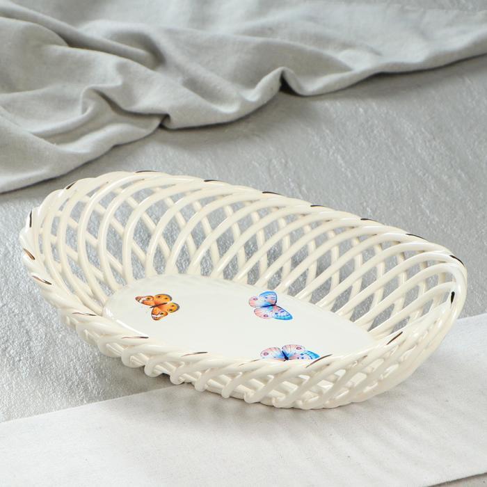 """Конфетница """"Ладья"""", плетение, цвет белый, 9 см, микс"""