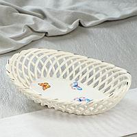 """Конфетница """"Ладья"""", плетение, цвет белый, 9 см, микс, фото 1"""