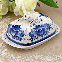 Маслёнка «Тюльпан», 16х10,5х10 см, гжель, фото 1