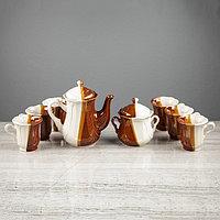 """Чайный сервиз """"Ажур"""" день и ночь, 8 предметов: сахарница, чайник 1 л, 6 кружек 0,22 л, фото 1"""