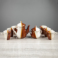 """Чайный сервиз """"Ажур"""" день и ночь, 8 предметов: сахарница, чайник 1 л, 6 кружек 0,22 л"""