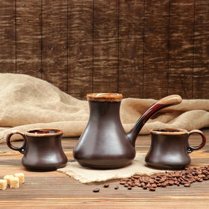 """Набор кофейный """"ШокоЛадно"""", турка и 2 чашки, коричневый , 0.65/0,22л."""