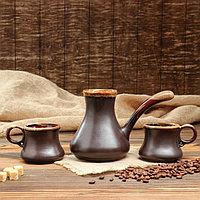 """Набор кофейный """"ШокоЛадно"""", турка и 2 чашки, коричневый , 0.65/0,22л., фото 1"""