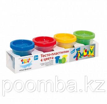 Тесто-пластилин 4 цвета, набор для детского творчества Genio Kids