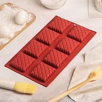 Форма для выпечки 28,5×17 см «Печенье», 8 ячеек (5,8×5,8 см), цвет МИКС