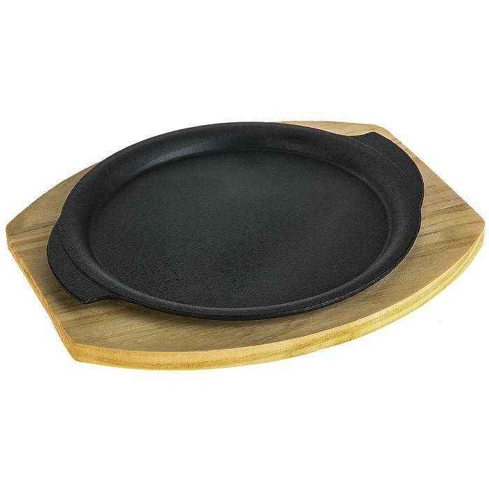 """Сковорода 26х22,7 см """"Круг. Восток"""" с ручками, на деревянной подставке"""
