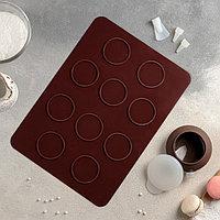 """Набор для выпечки макаронс 5 предметов """"Ронд"""": коврик, емкость для крема, 3 насадки 2х1 см"""