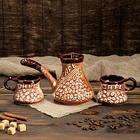"Кофейный набор ""Кофе"", под шамот, 3 предмета, турка 0.65 л, 2 чашки 0.25 л"