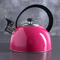 """Чайник """"Аманда"""", 1,8 л, со свистком, фиксированная ручка, цвет розовый"""