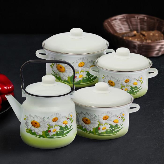 Набор посуды «Ромашковое поле», 4 предмета: кастрюли 2 л, 3 л, 4 л, чайник 3,5 л
