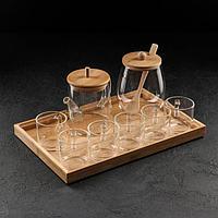 Набор чайный «Эко», 8 предметов: чайник 0,8 л, 6 чашек 150 мл, сахарница с ложкой, на деревянной подставке