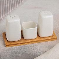Набор для специй «Эстет», 3 шт: солонка, перечница, ёмкость для зубочисток, на деревянной подставке