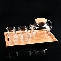 """Чайный набор """"Эко"""", 7 предметов: чайник с ситом 1 л, 6 кружек 100 мл,на деревянной подставке"""