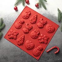 """Форма для шоколада и выпечки 3D 30×30 см """"Ёлочные игрушки"""", 12 ячеек, цвет МИКС"""