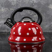 """Чайник со свистком 2,8 л """"Горошек"""", цвет красный"""