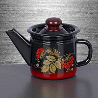 Чайник заварочный 1 л, фиксированная ручка, цвет красно-чёрный, фото 1