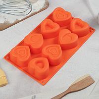 Форма для выпечки «Сердцебиение», 30×17,5 см, 8 ячеек (7×6,5 см), цвет МИКС