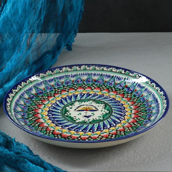 Ляган круглый «Риштан», 28 см, сине-зелёно-красный орнамент