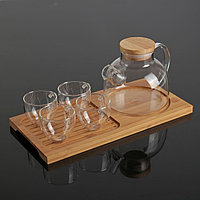 Чайный набор «Эко», 5 предметов: чайник 1 л, 4 кружки 100 мл