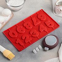 Набор для выпечки «Цифры», 5 предметов: форма, ёмкость для крема, 3 насадки 2×1 см, цвет МИКС