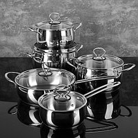 """Набор посуды """"Магнолия. Классика"""" 5 предметов: кастрюли 2,5 л, 3,5 л, 4,5 л сковорода 3 л, ковш 1,2 л, капсульное дно, стеклянные крышки, фото 1"""