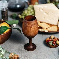 Бокал для вина «Сибирский Кедр», 16,5×7 см, из натурального кедра, цвет шоколадный