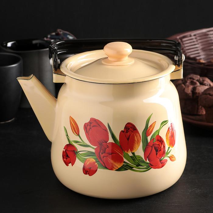 Чайник 3,5 л, эмалированная крышка, цвет бежевый, рисунок МИКС