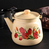 Чайник 3,5 л, эмалированная крышка, цвет бежевый, рисунок МИКС, фото 1