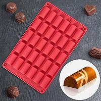 Форма для льда и шоколада «Батончик», 30 ячеек (4×2×1,5 см), 27,5×17,5 см, цвет МИКС