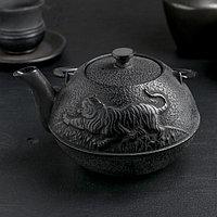 """Чайник с ситом 700 мл """"Золотой дракон"""", черный, эмалированное покрытие внутри"""