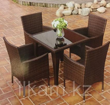 Комплект мебели из ротанга, стол квадратный, 4 кресла