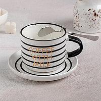 """Набор чайный """"Кофе с молоком"""", 3 предмета: кружка 180 мл, блюдце 12 см, ложка, рисунок МИКС"""