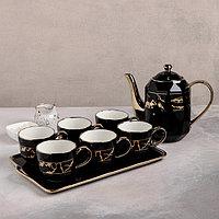 Набор чайный «Рея», 7 предметов: чайник 1 л, 4 кружки 250 мл, на керамической подставке