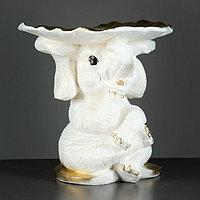 """Фигура - подставка """"Слон с листком"""" перламутр-золото 30х30х30см"""