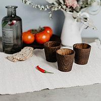 Набор рюмок 100 мл «Сибирская Сосна», 3 шт, из натуральной сосны, цвет шоколадный