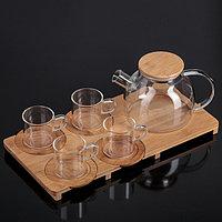 """Набор чайный """"Эко"""", 9 предметов: чайник 1,1 л, 4 кружки 120 мл, 4 подставки 9,5 см"""