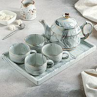 Набор чайный «Мрамор», 5 предметов: чайник 800 мл, 4 кружки 170 мл, подставка 31×21 см, цвет синий